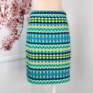 J Crew Geometric Print Basketweave Pencil Skirt